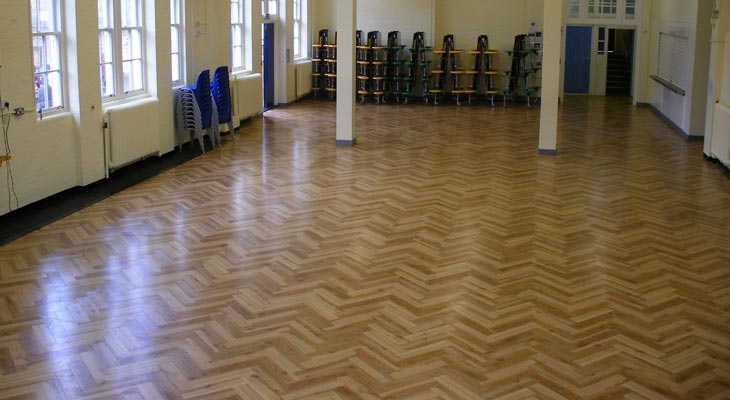 Amtico vinyl flooring finished in Wyvil School hall