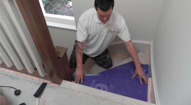 fitting specialist carpet underlay to a staircase