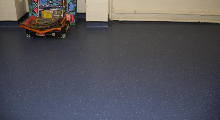 Vinyl flooring fitted in a school playroom