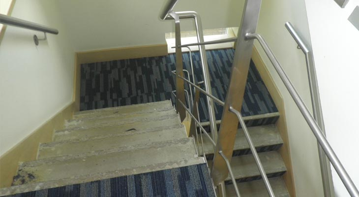 Staircase chemical spillage