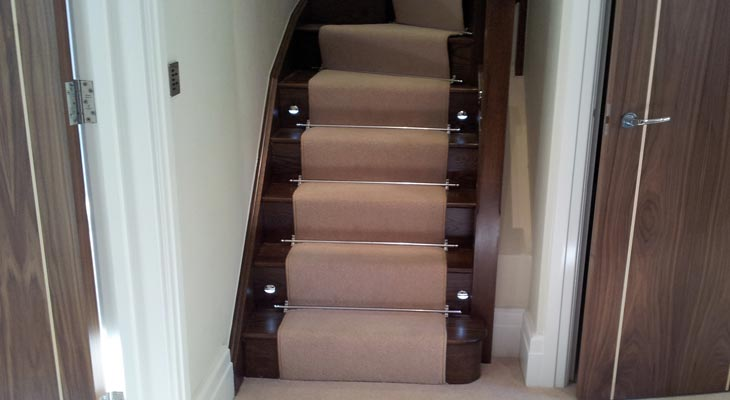Cream velvet stair runner in Horsham.