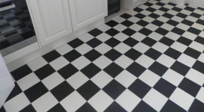 Chequer board vinyl sheet flooring in a horsham kitchen