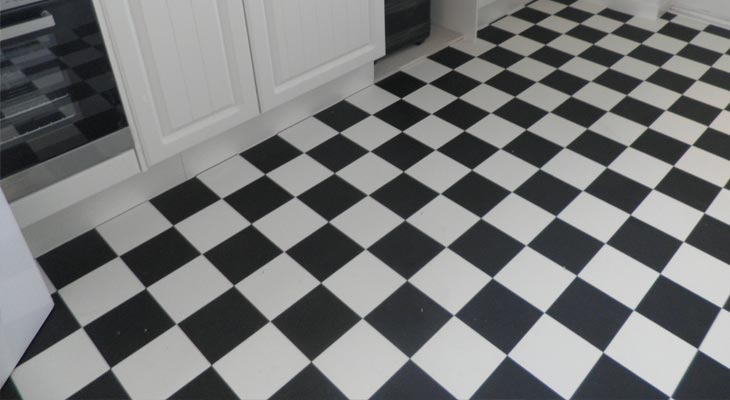 Chequer board vinyl sheet flooring in a horsham kitchen