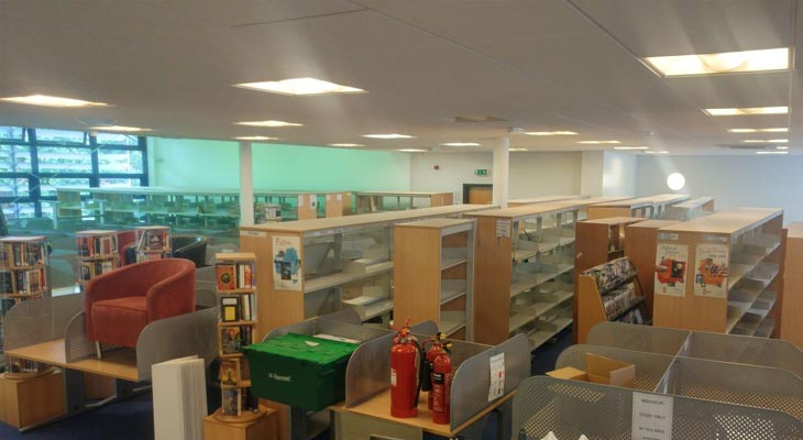 Library contents moved to one side