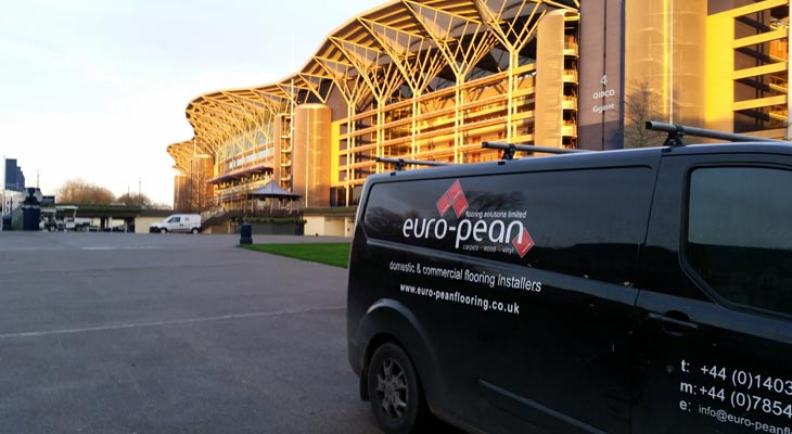 One of our Euro-Pean Flooring vans on-site at Ascot Race Course