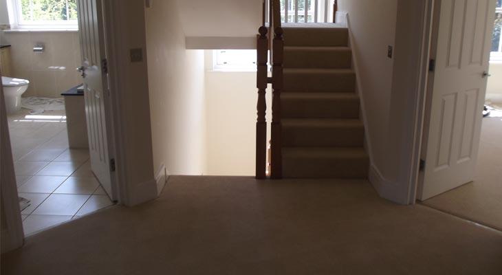 First floor landing with new cream velvet carpet fitted