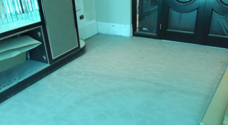 Ground floor room after applying a latex levelling compound