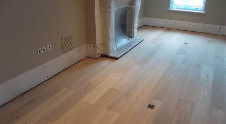Sockets fitted into engineered oak flooring