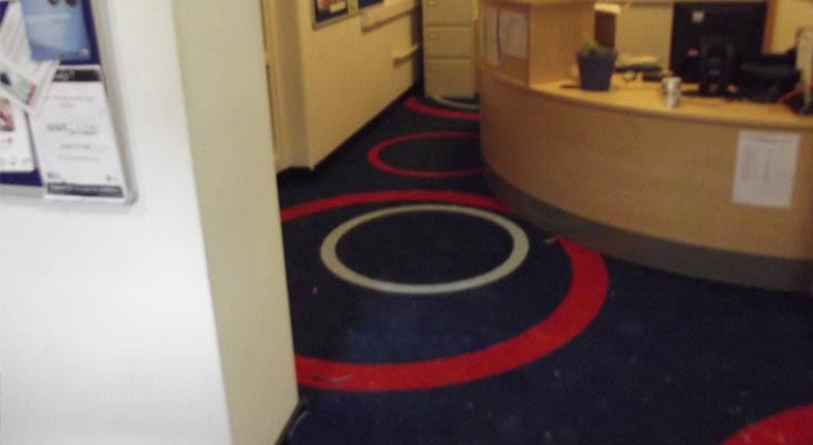 College carpet installed to reception area