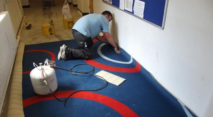 College carpet specialists in Surrey turning carpet up the walls